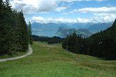 Lake, Mountains And Ski Lift Nearby Luzern In Switzerland
