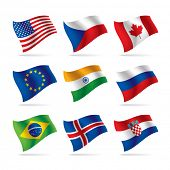 Set of world flags. Vector illustration