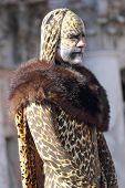 Man Disguised As A Leopard During The Carnival Of Venice
