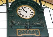 Old Clock In Sao Bento Railway Station, Porto