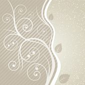Luxury floral sepia swirls and leaves design