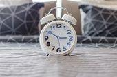 White Modern Alarm Clock In Bedroom
