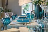 Table Set On Glass Table