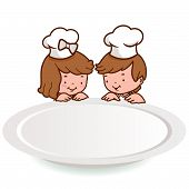 children chefs looking over an empty plate