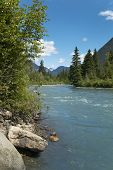 Landscape With River And Forest In British Columbia. Canada