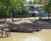 Boats In Mrauk U, Myanmar