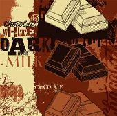 Vintage Chocolate poster design. Three kinds of chocolate:white, dark and milk. Vector illustration