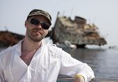 Tourist and the sunken Russian ship.