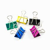 Colorful Binder Clips Isolated