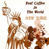 Coffee Poster With Statiue Of Liberty Holding Cup Of Coffee