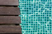 Wood Plank And Turquoise Tile