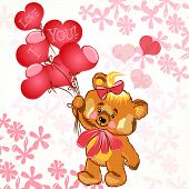 Cute Valentine's Card With Smile Bear Holding Balloons In A Heart Shape