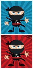 pic of chibi  - Ninja Warrior Cartoon Character In Modern Flat Design - JPG
