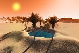 foto of oasis  - Oasis in the desert made in 3d software - JPG
