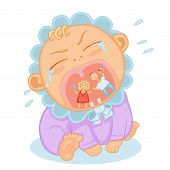 stock photo of teething baby  - cute baby  toddler screaming and bursting with tears - JPG