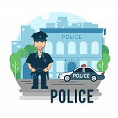 picture of policeman  - Concept policeman at work - JPG
