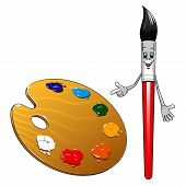 foto of arts crafts  - Cartoon cute smiling paint brush character with red handle and wooden art palette with colorful paints for art design - JPG