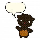 image of bear-cub  - cartoon waving black bear cub with speech bubble - JPG