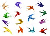 image of swallow  - Colorful origami paper swallow birds in flight isolated on white background for logo or emblem design template - JPG