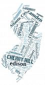 picture of state shapes  - Word Cloud in the shape of New Jersey showing some of the cities in the state - JPG