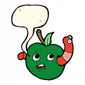 image of worm  - cartoon worm in apple with speech bubble - JPG