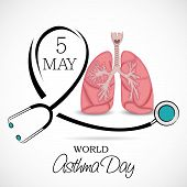 stock photo of asthma  - illustration of a lungs for World Asthma Day in gray background - JPG