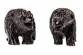 image of figurines  - two wooden bear cub figurine isolated over a white background - JPG