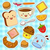 pic of kawaii  - cute kawaii style cartoons of breakfast foods - JPG