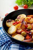 foto of lenten  - Baked potato with vegetables in a frying pan - JPG
