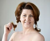 image of bare-naked  - Portrait of an adult woman with a bare shoulders - JPG