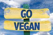 foto of vegan  - Go Vegan sign with sky background - JPG