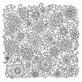 stock photo of mehndi  - Ethnic floral retro doodle background pattern circle in vector - JPG