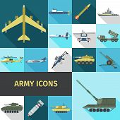 stock photo of military helicopter  - Army icons flat set with military truck helicopter ship isolated vector illustration - JPG