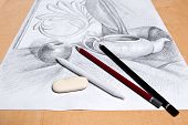 picture of pencil eraser  - Drawing of still life by graphite pencil with apple tea infuser and plaster palm leaf - JPG