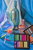 pic of pastel  - Artists chalk pastels and original pastel drawing of still life on the background - JPG