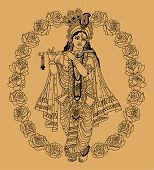 stock photo of goddess  - Indian goddess in buds of roses on a beige background - JPG