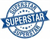 pic of superstars  - superstar grunge retro blue isolated ribbon stamp - JPG