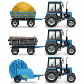 foto of truck farm  - Farm tractor with baler and trolley with hay and wood - JPG