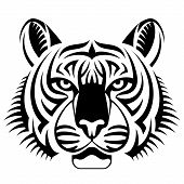 image of zoo  - Black and white tattoo of tiger head front view - JPG
