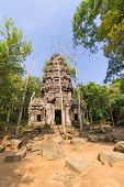picture of hindu  - Hindu sanctuary situated name Ta Krabey stone castle under sunlight - JPG