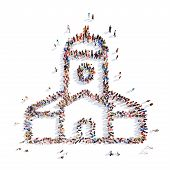 picture of peace-sign  - Large group of people in the form of the church - JPG