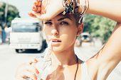 Outdoor Summer Portrait Of Woman Drinks Water poster