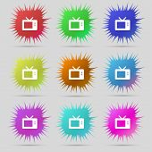 image of tv sets  - Retro TV mode icon sign - JPG