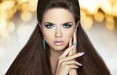 pic of long nails  - Beautiful model brunette with makeup long hair - JPG