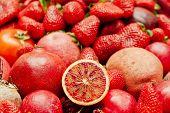 stock photo of vegetable food fruit  - Assortment of red vegetables and fruits Fresh fruits and vegetables background - JPG