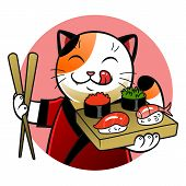 image of sushi  - Cartoon cat holding sushi and chopsticks - JPG
