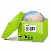 stock photo of barcode  - Globe in opened green carton box with barcode - JPG