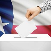 stock photo of texans  - Ballot box with US state flag on background series  - JPG