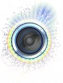 pic of subwoofer  - Loudspeaker on the colorful background with rays  - JPG