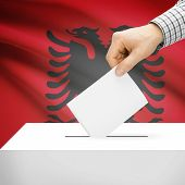 pic of albania  - Ballot box with flag on background series  - JPG